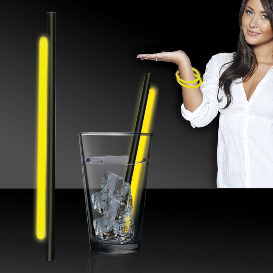 YELLOW GLOW STRAWS AND BRACELETS - 9 INCH - 25 PACK