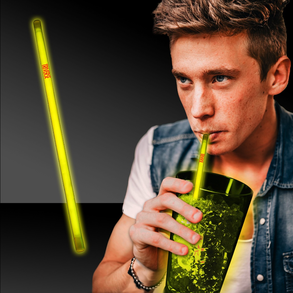 NEW -  9 INCH YELLOW GLOW STRAW
