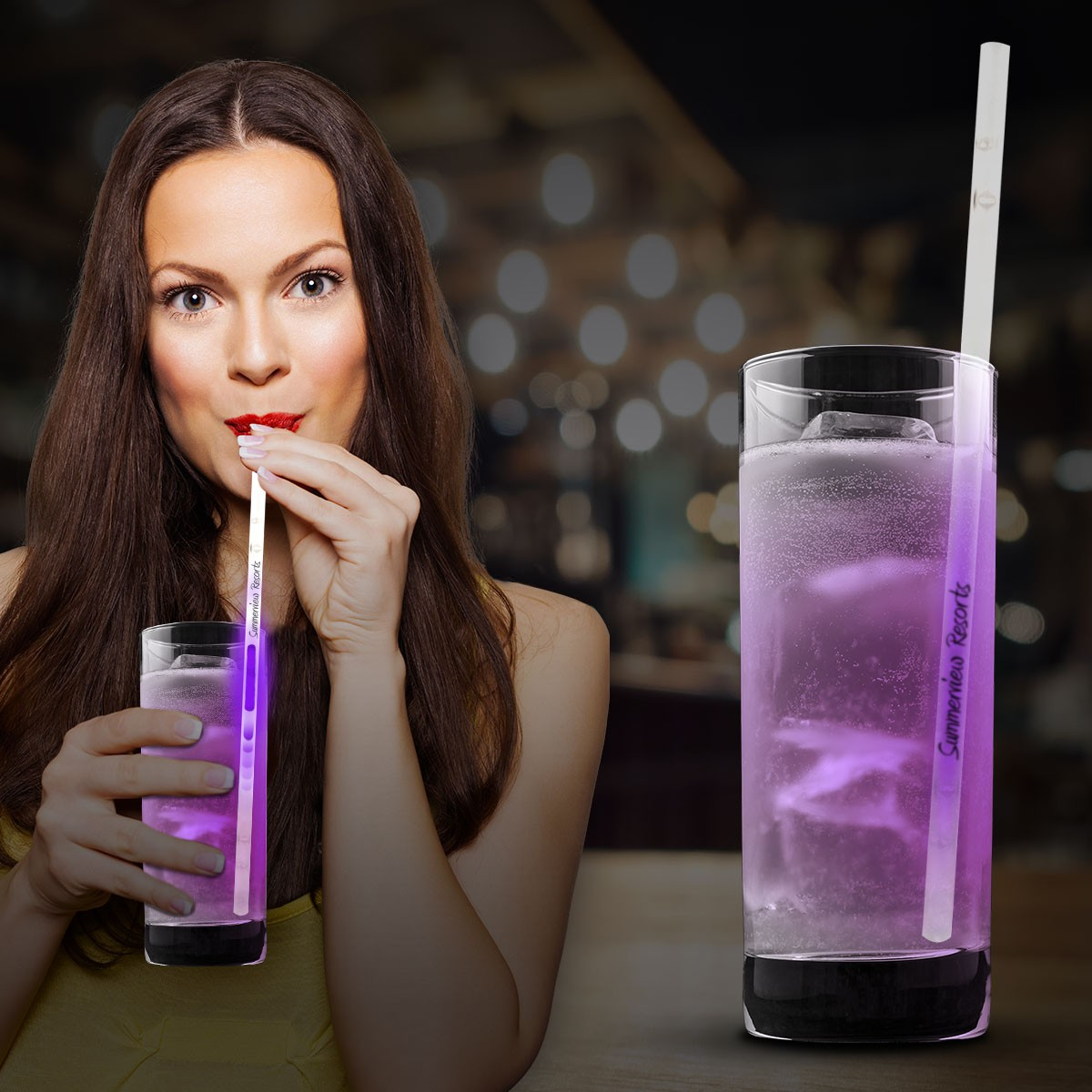 9 INCH PURPLE GO GLOW STRAW