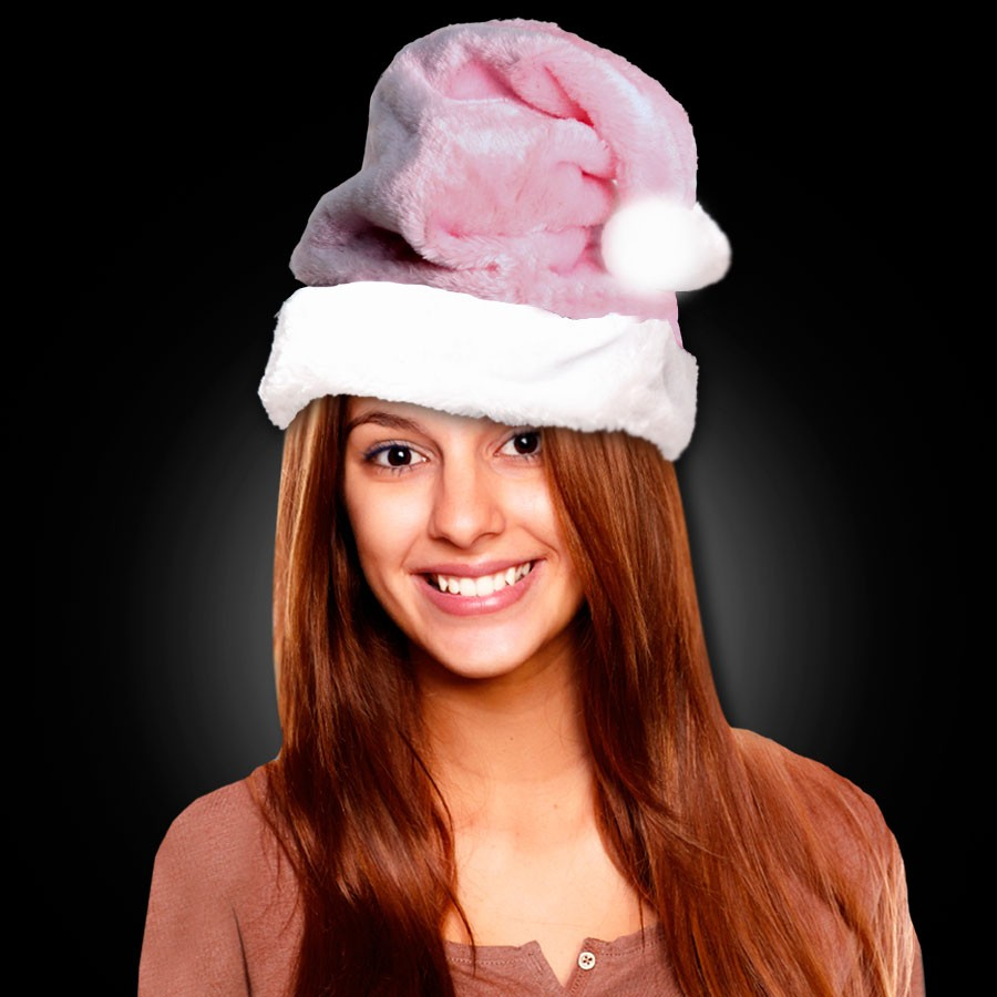PINK PLUSH SANTA HAT - ADULT