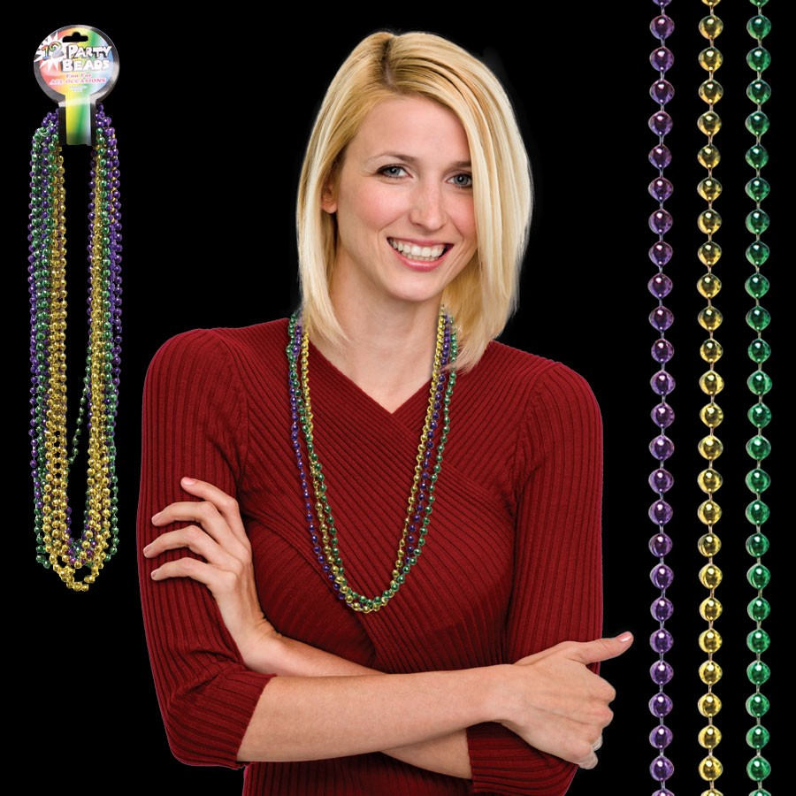33 INCH MARDI GRAS BEAD NECKLACES