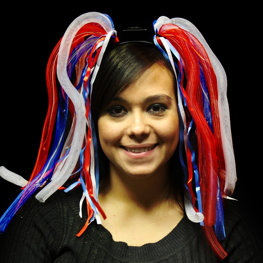 RED WHITE & BLUE DIVA DREADS LED LIGHT-UP HEADBAND