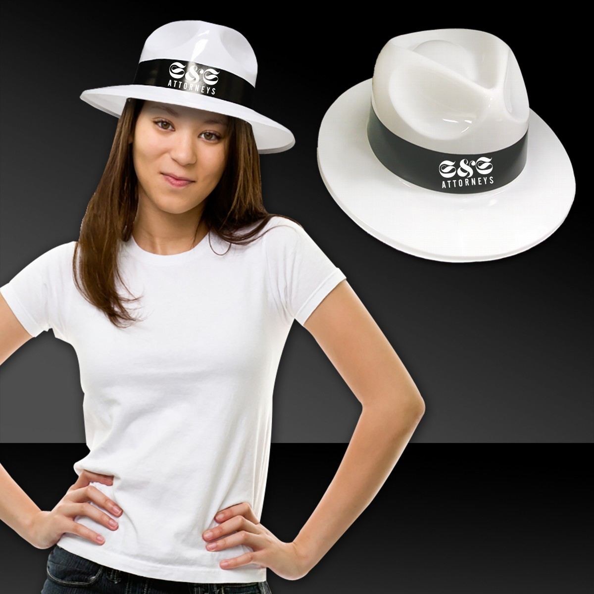 WHITE FEDORA WBLACK BAND