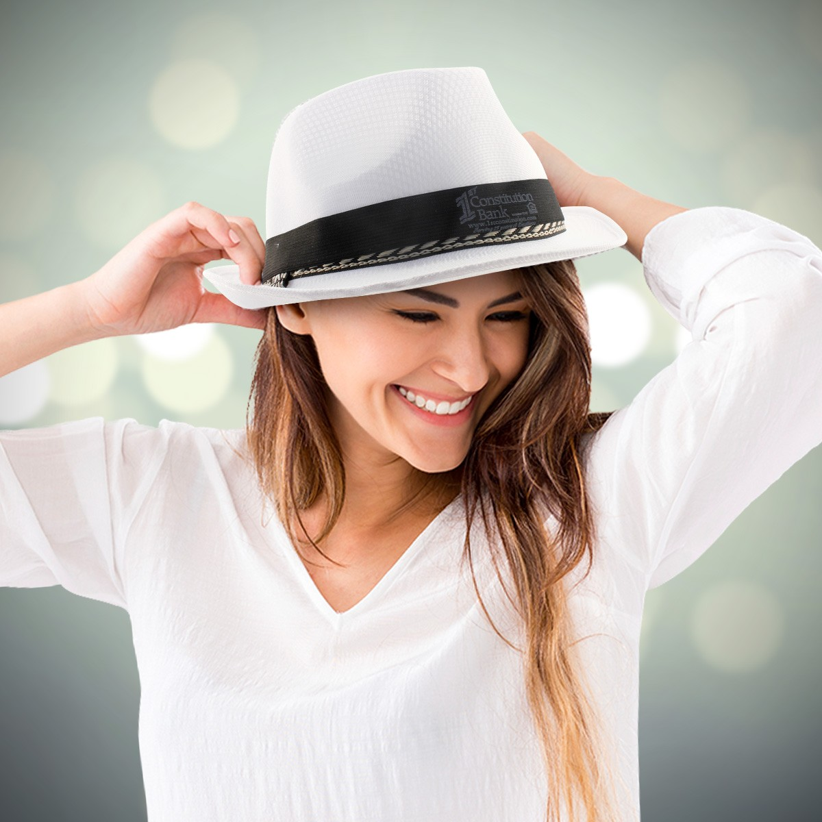WHITE NYLON FEDORA
