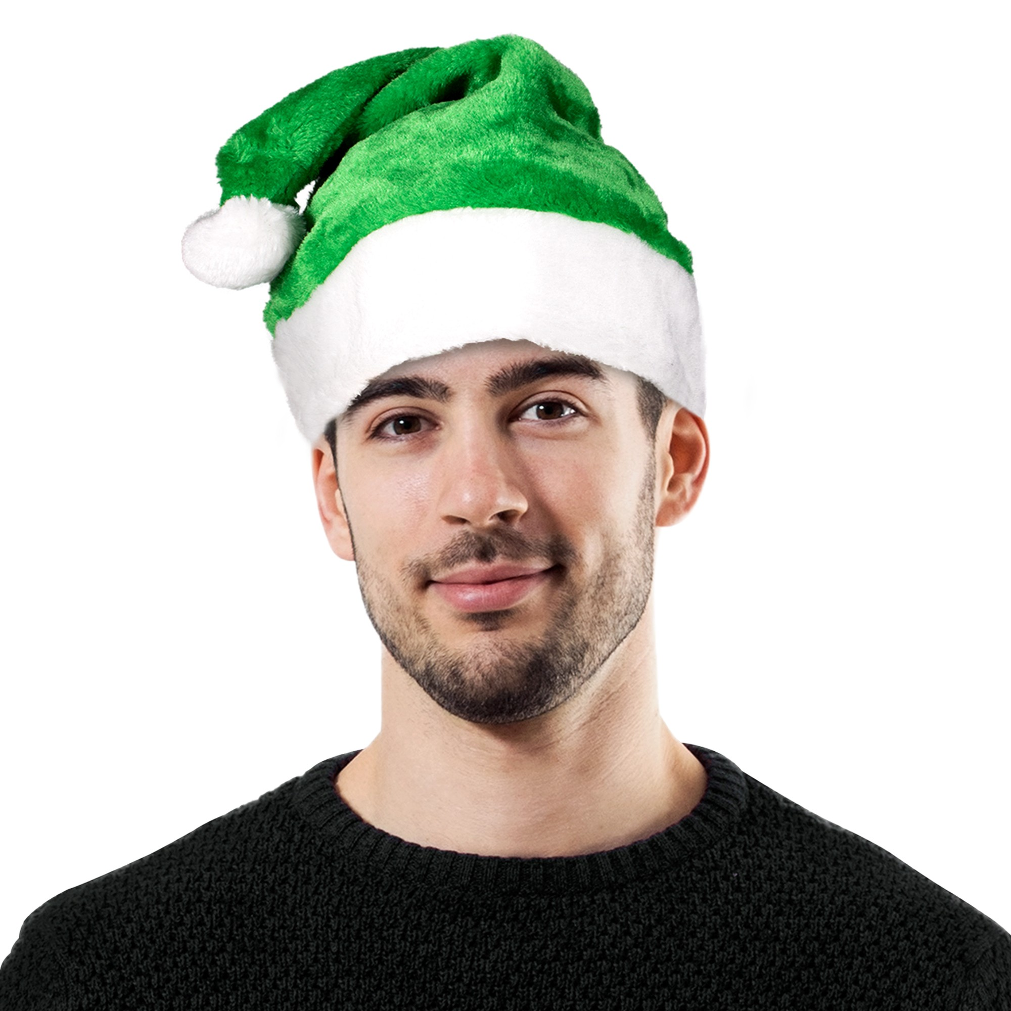 GREEN PLUSH SANTA HAT-ADULT