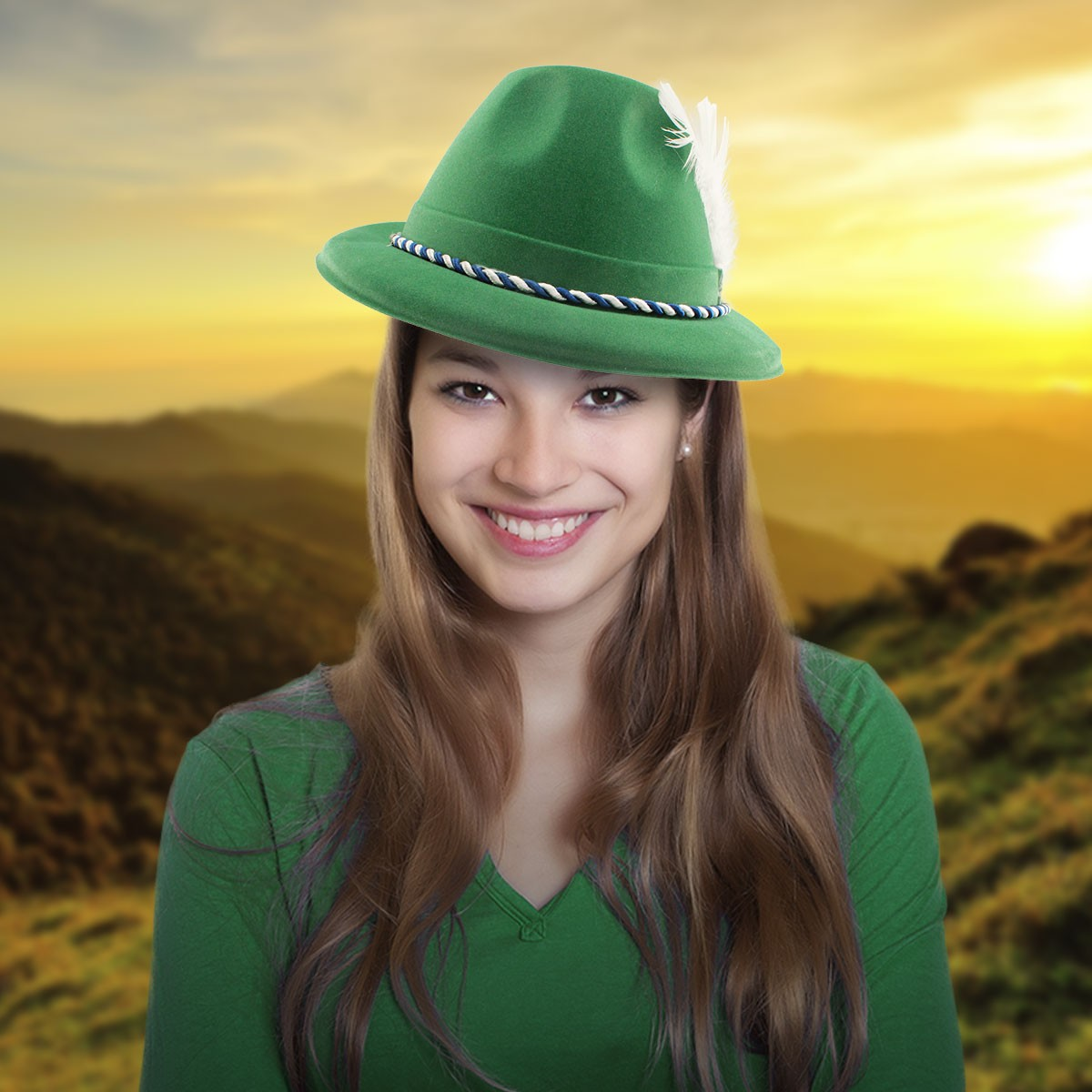 GREEN VELOUR TYROLEAN HAT