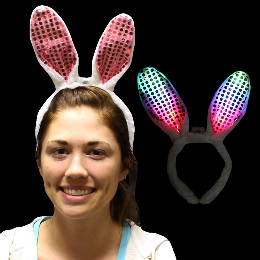 LED -BUNNY EARS WITH PINK SEQUINS