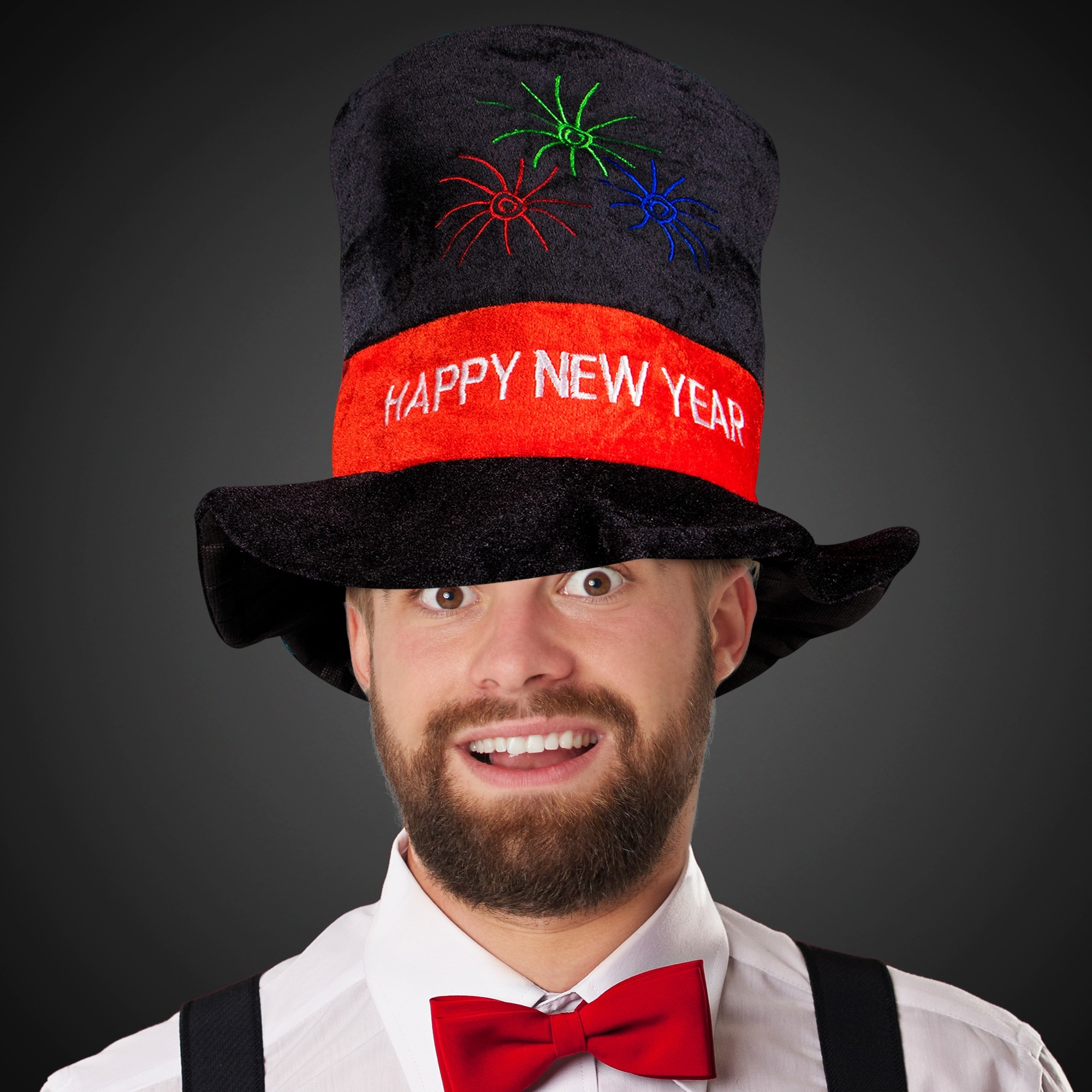 NEW YEARS TOP HAT-BLACK WRED