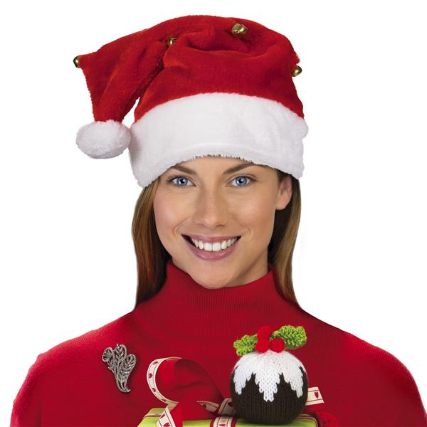 PLUSH RED SANTA HAT WITH BELLS