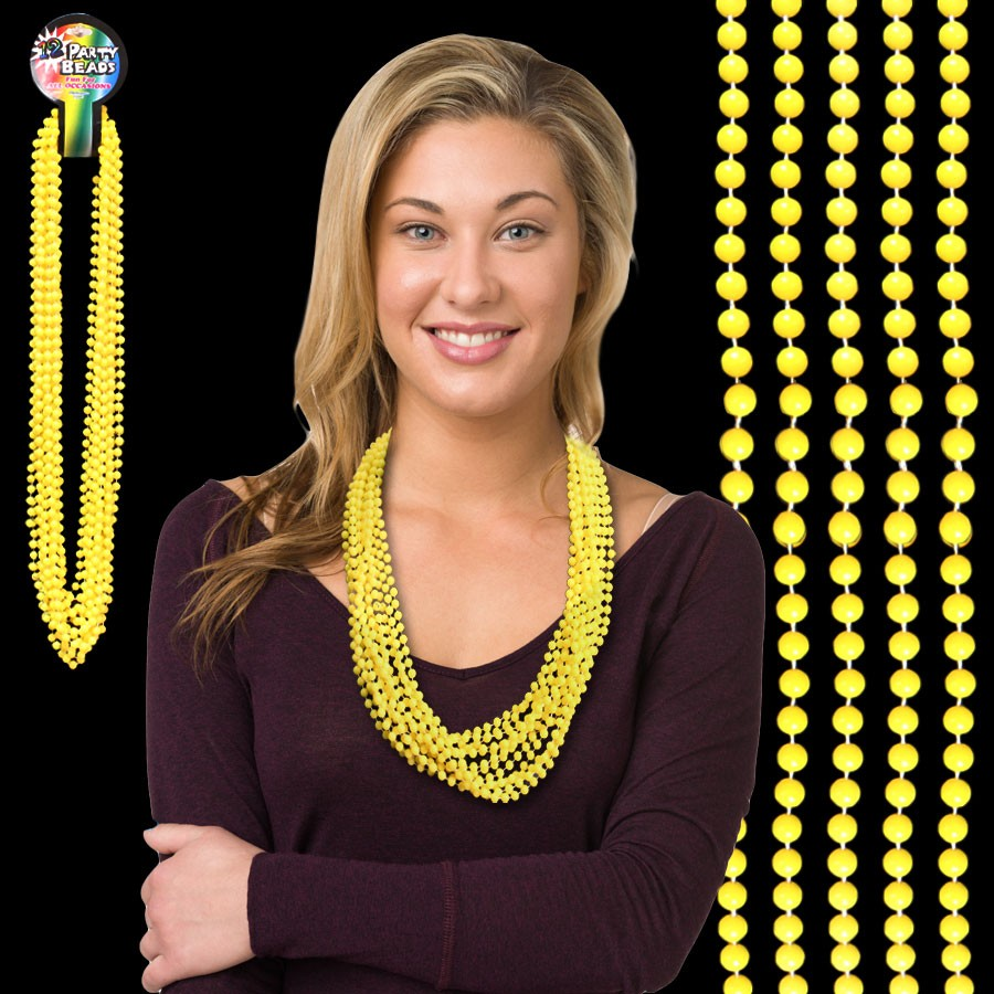 33 INCH YELLOW BEAD NECKLACES