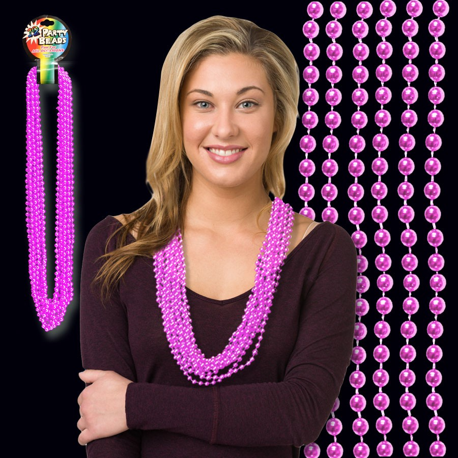 33 INCH PINK METALLIC BEAD NECKLACES