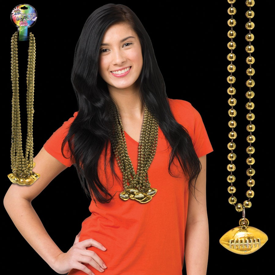 33 INCH GOLD FOOTBALL BEAD NECKLACE