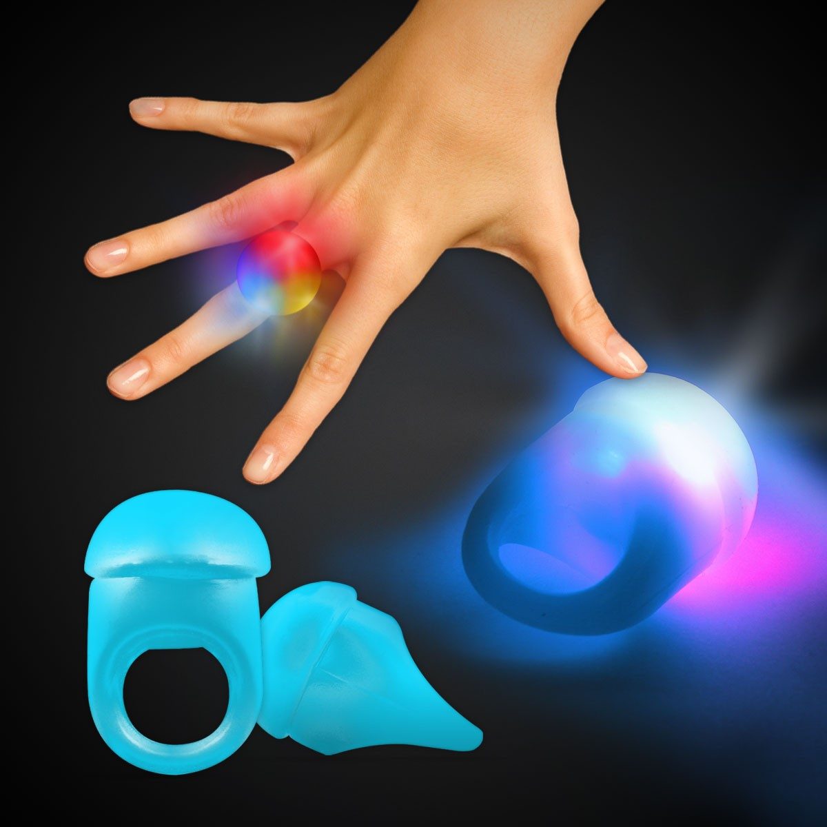 BLUE JELLY BUTTON RING WLEDS