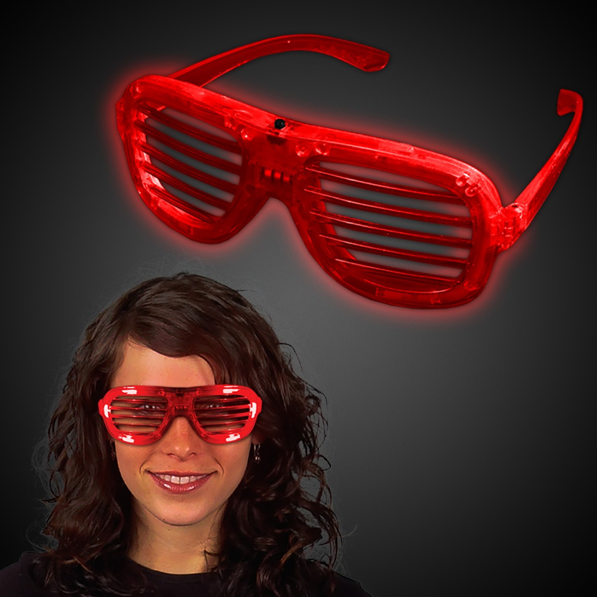 RED L.E.D. SLOTTED GLASSES