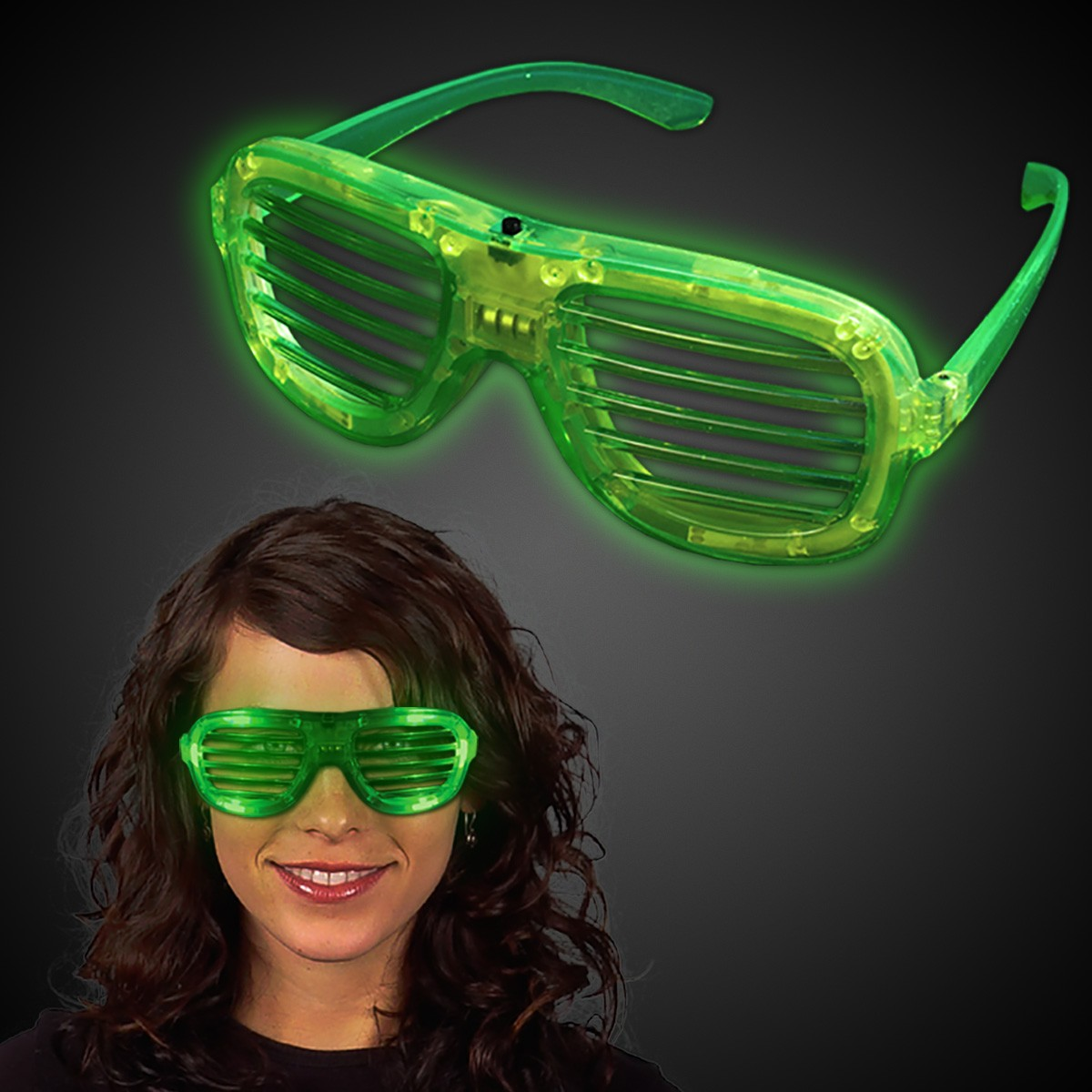 GREEN LED SLOTTED GLASSES