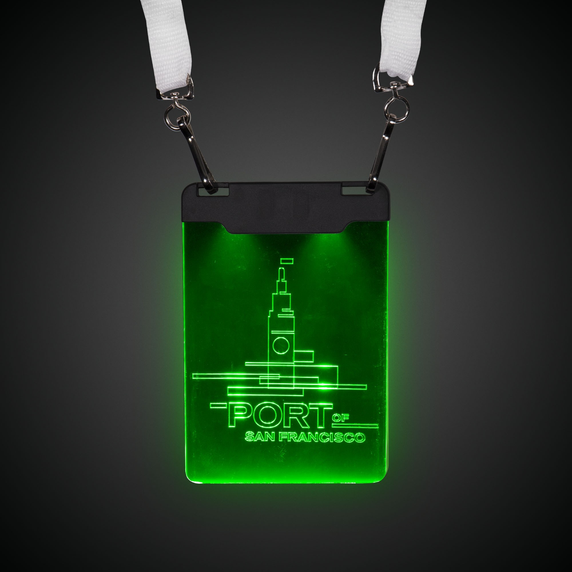 GREEN LED BADGE WLANYARD