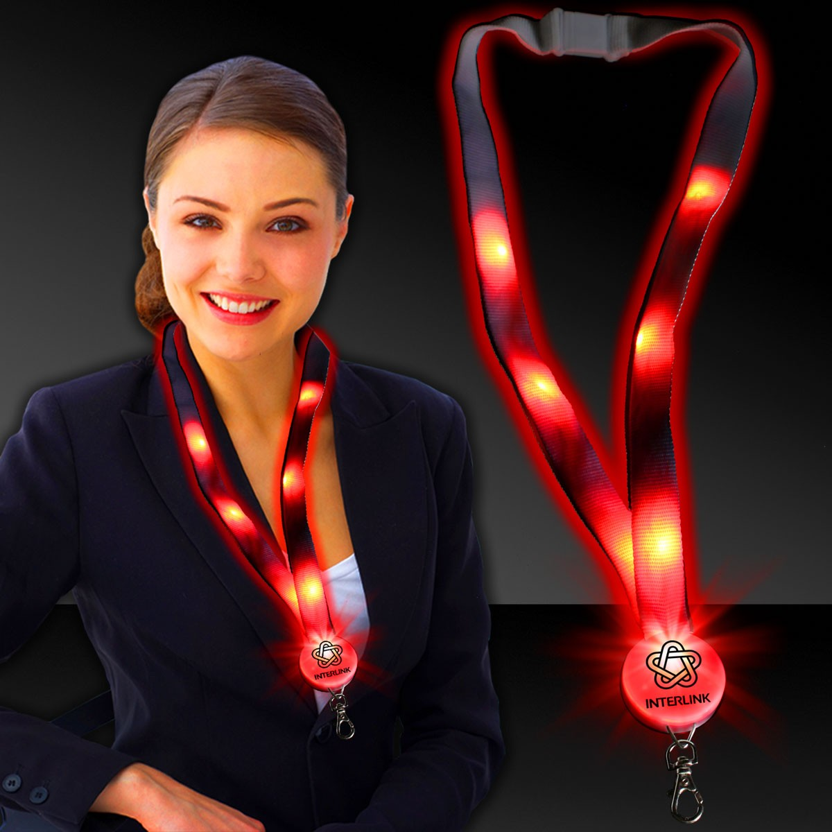 NEW RED-LED LANYARD - FLAT