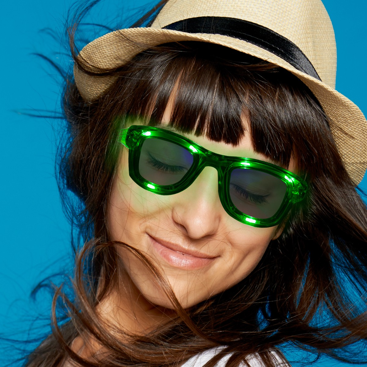 SQUARE LED SUNGLASSES - GREEN