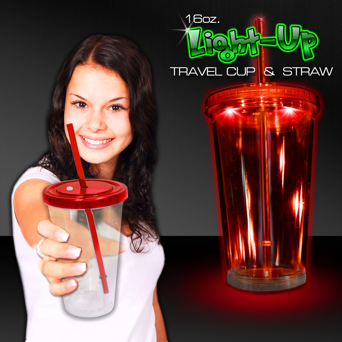 RED LED AND LIGHT - UP DOUBLE WALL CUP - 16OZ