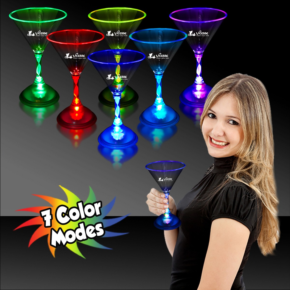 MARTINI GLASS - 7 COLOR LED
