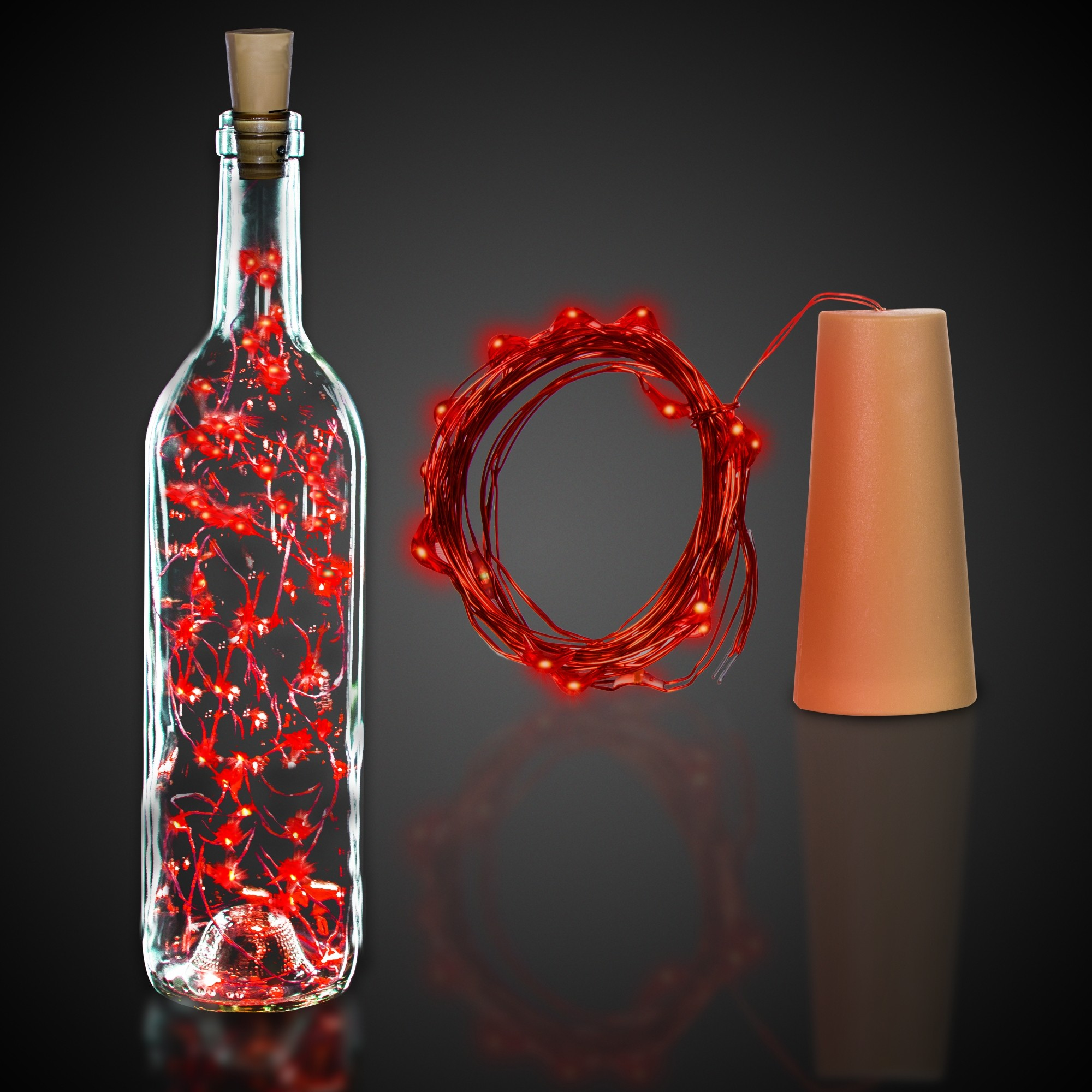 CORK STRING LIGHT SET-RED LED