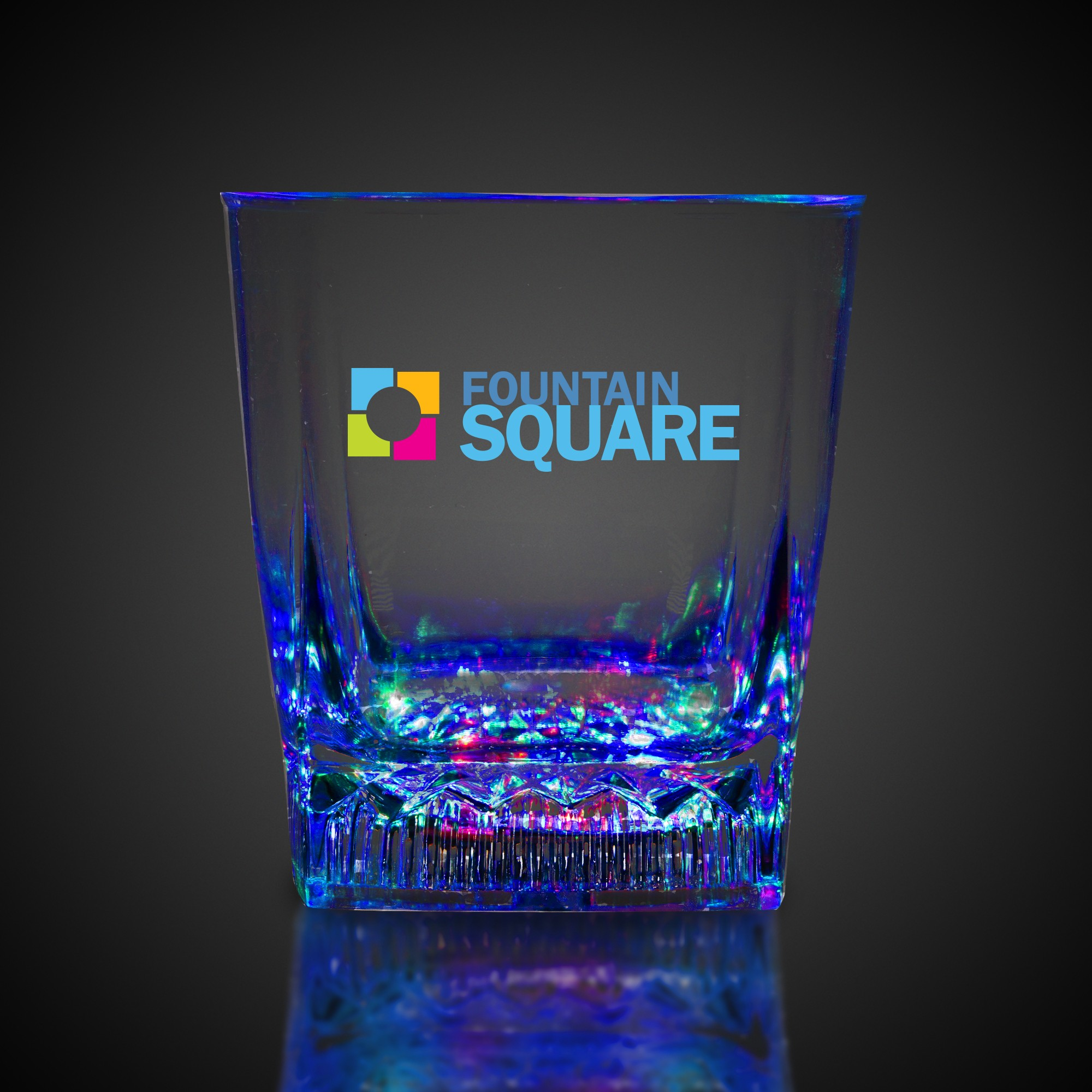 SQUARE BOTTOM LU ROCKS GLASS