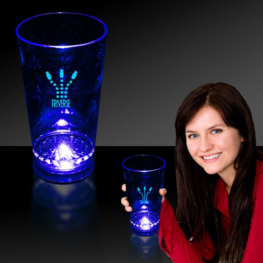 LIGHT-UP BLUE BASE PINT GLASS