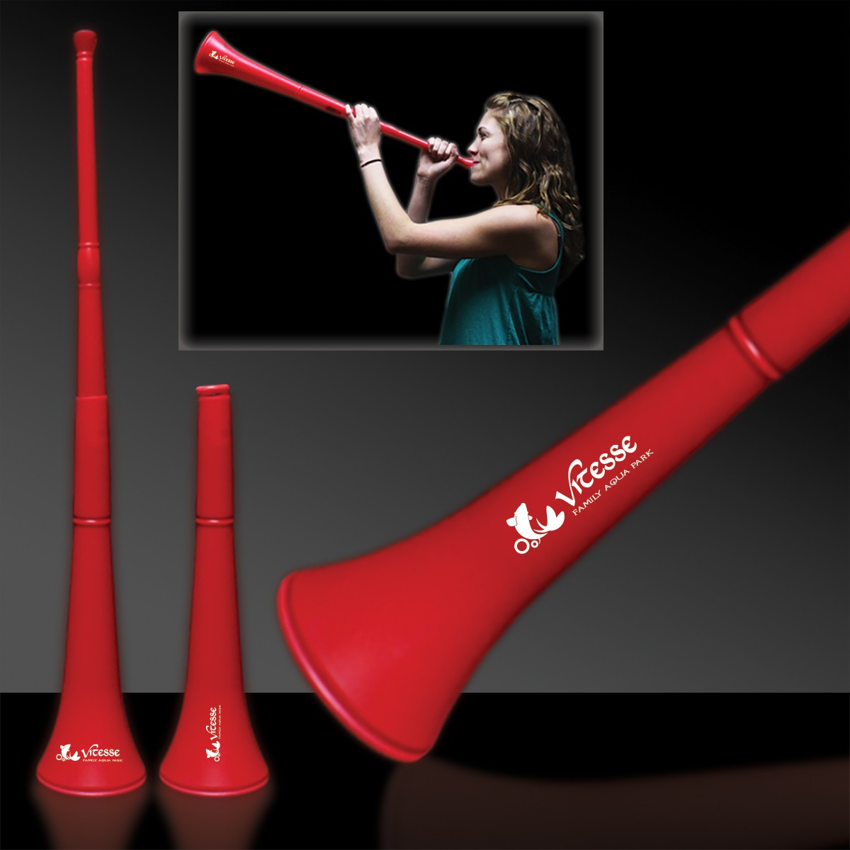 RED- COLLAPSIBLE STADIUM HORN