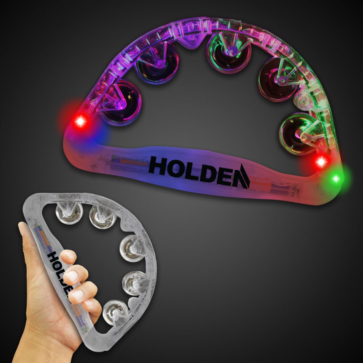 CLEAR LED LIGHT UP TAMBOURINE