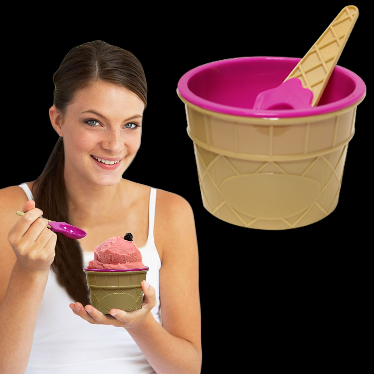 LT. PINK ICE CREAM BOWLS WITH SPOON