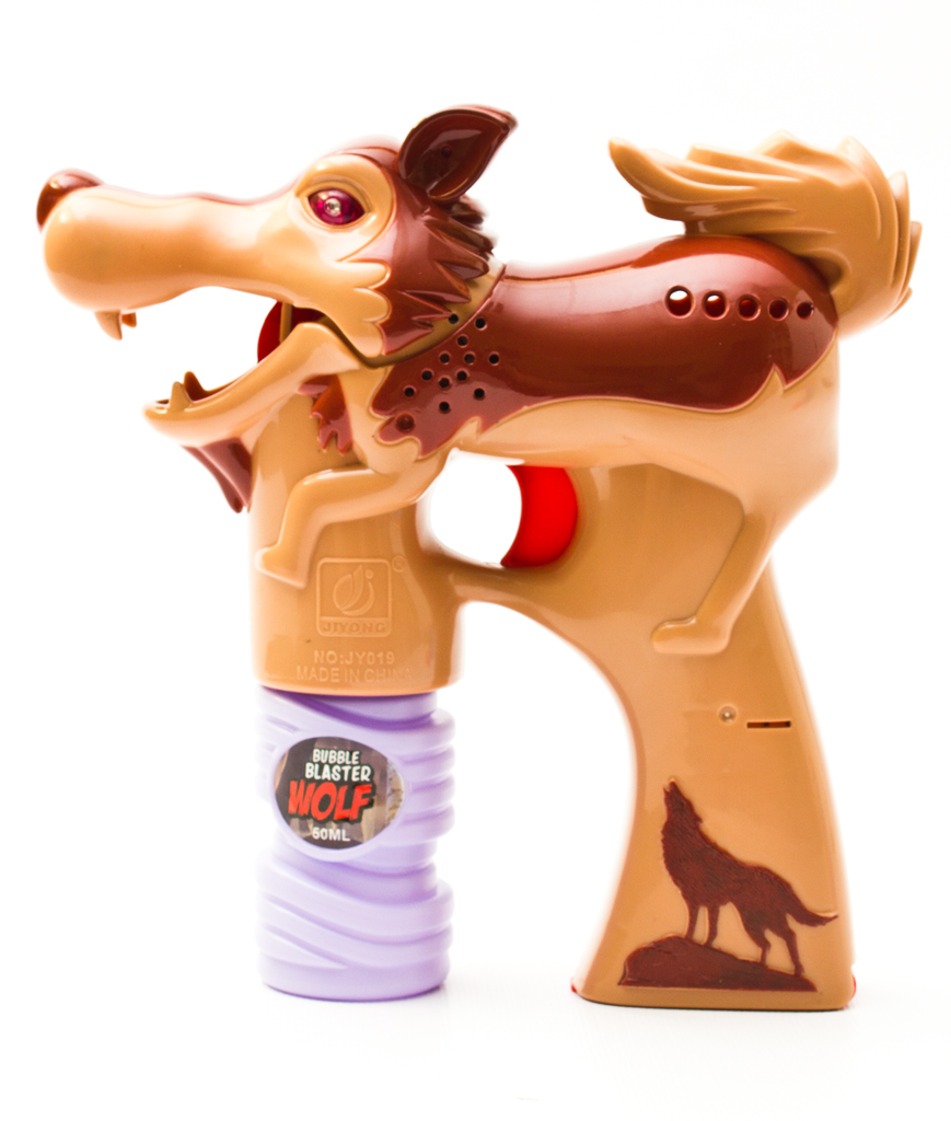LED Wolf Bubble Gun - Brown
