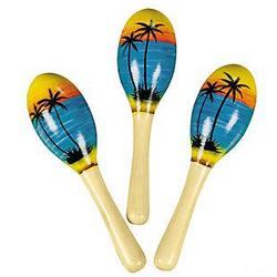 Wooden Painted Tropical Maracas