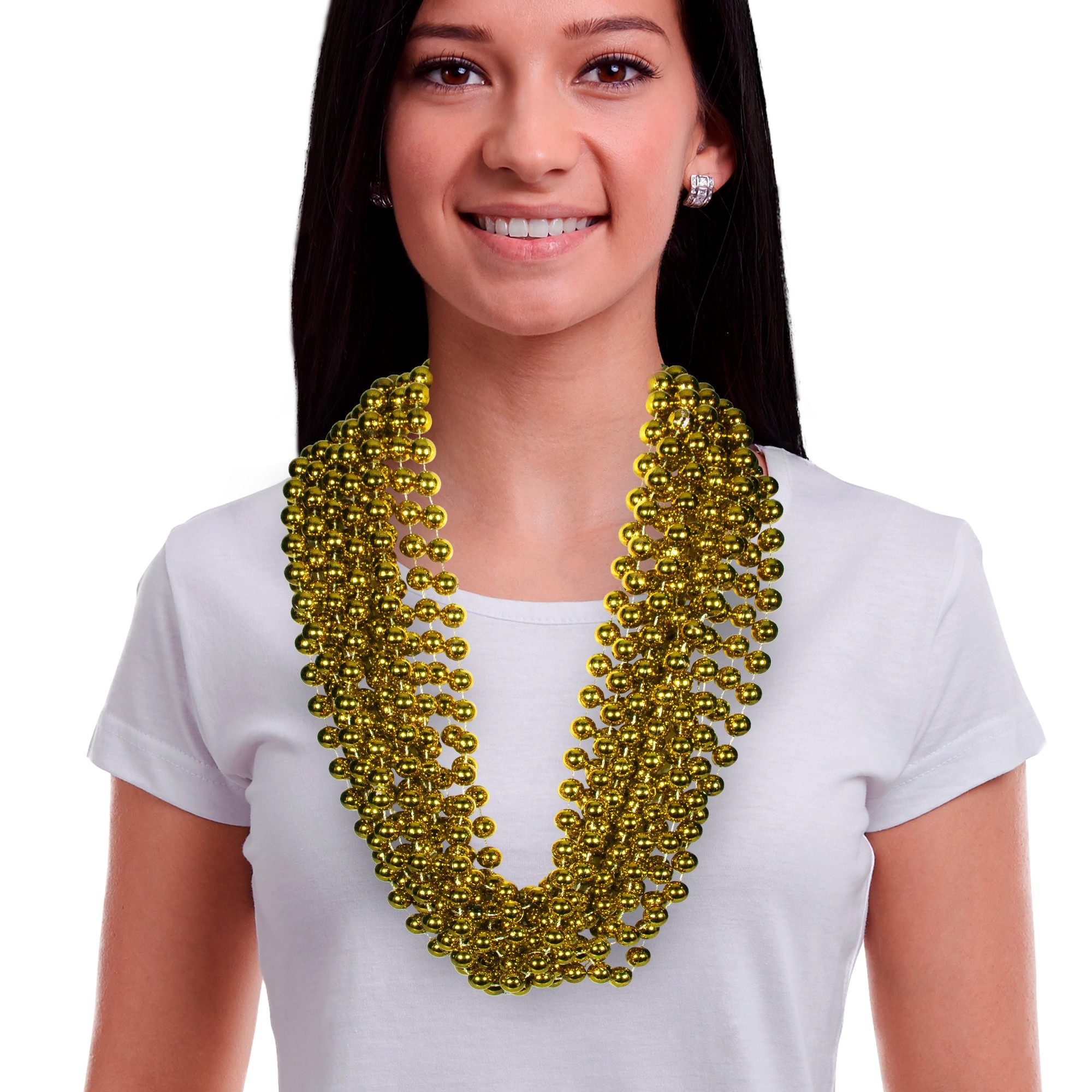 33 INCH GOLD METALLIC BEAD NECKLACES