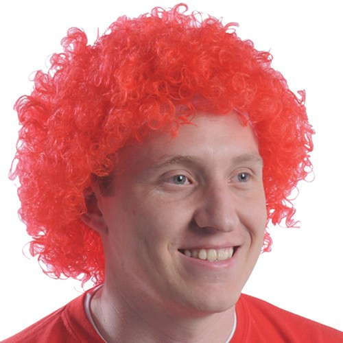 Red Team Spirit Afro Wig