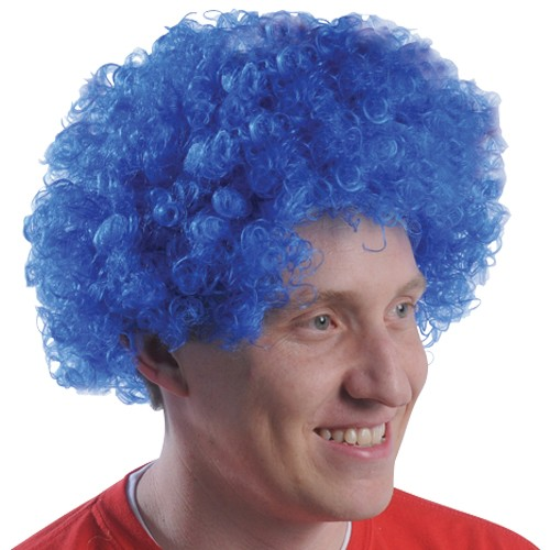Blue Team Spirit Afro Wig