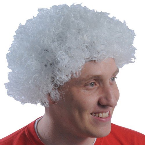 White Team Spirit Afro Wig