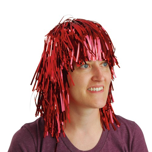 Red Tinsel Foil Party Wig