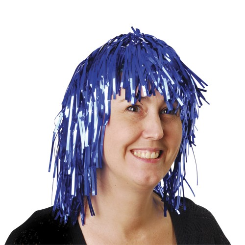 Blue Tinsel Foil Party Wig