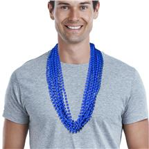 33 INCH BLUE ROUND BEAD SOLID