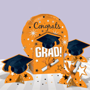 Graduation Orange Balloon Centerpiece- 5pc