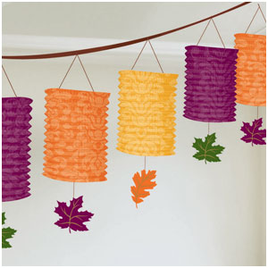 Fall Paper Lantern Garland- 12ft