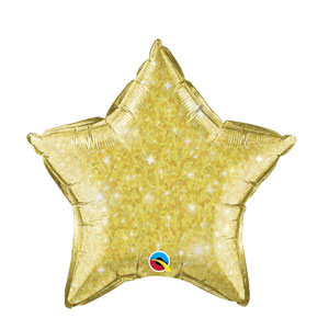 Gold Crystalgraphic Star Balloon - 20 inch