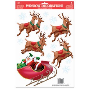 Santa's Sleigh Vinyl Window Decorations- 18 Inch