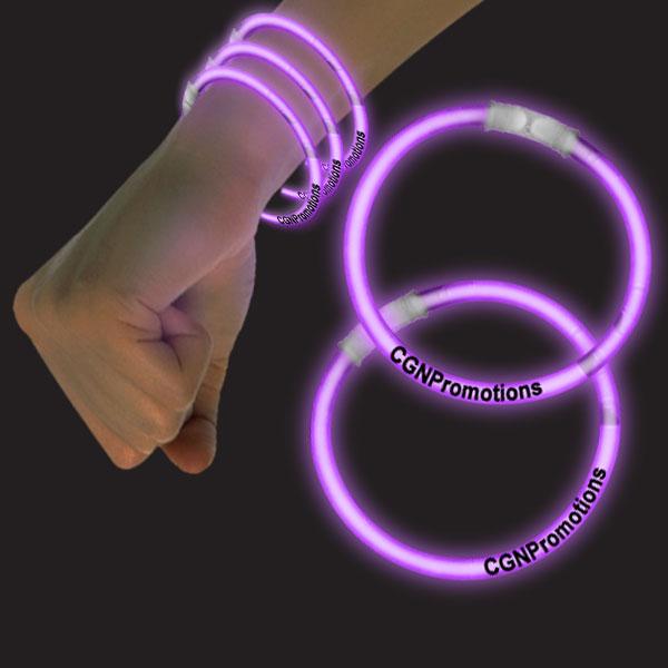 8 Inch Glow Bracelets - Purple