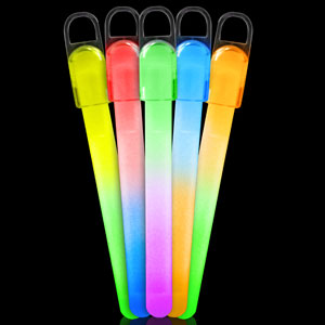 Fun Central I32 4 Inch Standard Glow in the Dark Sticks Bi-Colors - Assorted