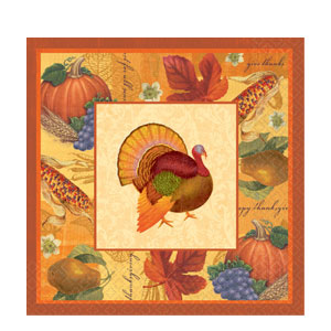 Thanksgiving Scrapbook Dinner Napkins- 16ct