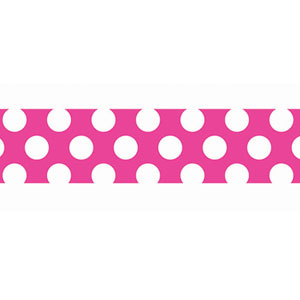 Pink White Polka-Dot Crepe Paper - 81ft