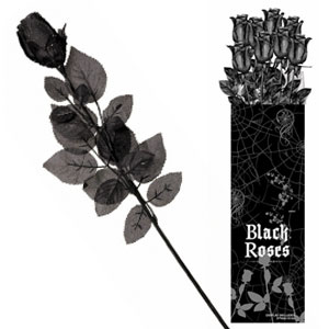 Black Fabric Rose- 24in