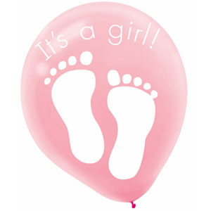 It's a Girl Latex Balloon - 12 Inch 6ct