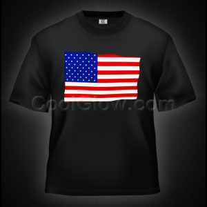 LED Sound Activated T-Shirt -USA Flag